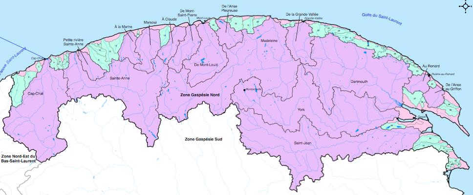 Zone de gestion intégrée de l'eau du nord de la Gaspésie