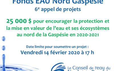Fonds EAU Nord Gaspésie – 6e appel de projets
